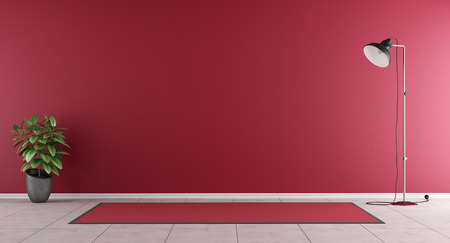Red living room without furniture - 3D Rendering