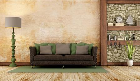 Retro woonkamer met klassieke bank, stenen muur en houten plank - 3D Rendering