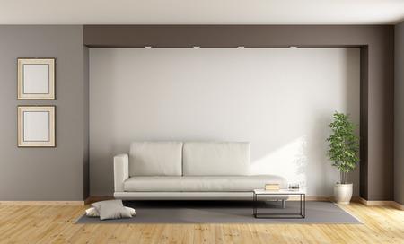 moderna soggiorno blu e marrone con divano, di nicchia e porta ... - Soggiorno Blu E Marrone 2