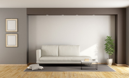 White and brown living room with sofa on carpet - 3D Rendering Archivio Fotografico