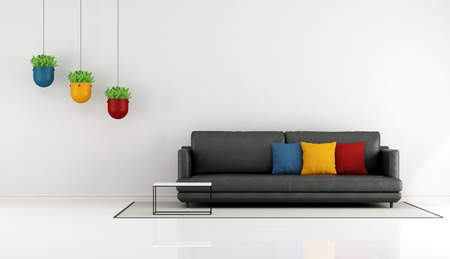 living room sofa: Minimalist living room with black sofa and colorful cushion - 3D Rendering