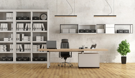 Bookcase: Black and white modern office with desk and bookcase - 3D Rendering Stock Photo