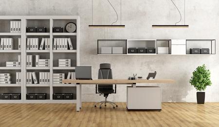 Zwart-wit modern kantoor met bureau en boekenkast - 3D Rendering Stockfoto