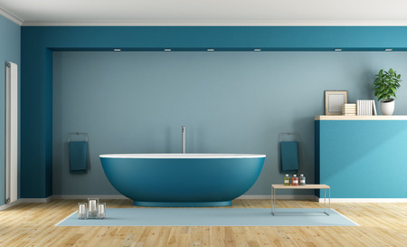 Blue modern bathroom with contemporary bathtub - 3D Rendering