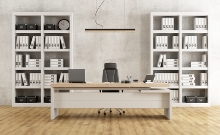 bureau minimaliste noir et blanc avec bureau et bibliothèque - Rendu 3D Banque d'images