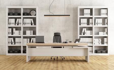 Schwarze und weiße minimalistische Büro mit Schreibtisch und Bücherregal - 3D-Rendering