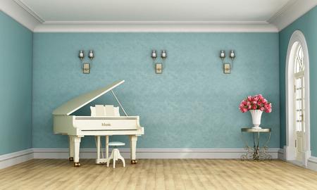 Музыкальный зал в классическом стиле с синей стеной и белый рояль - 3D рендеринг