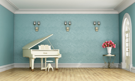 stucco: Music room in classic style with blue wall and white grand piano - 3D Rendering