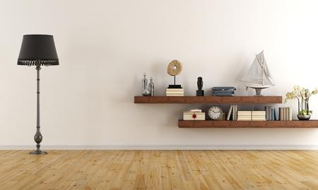 Retro Vintage-Wohnzimmer mit Holzregalen mit Büchern und Dekor-Objekte - 3D-Rendering