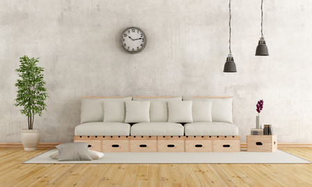 dirty: White living room with couch constructed with wooden boxes and pallets - 3D Rendering Stock Photo