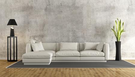 Minimalistický obývací pokoj s grungeovou betonovou stěnou a bílou pohovkou na koberci - 3D rendrování