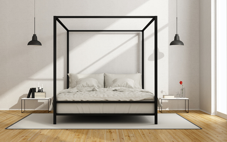 White bedroom with canopy bed in minimalist style - 3D Rendering