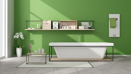 sideboard: Minimalist green bathroom with bathtub,sideboard and white heater - 3D Rendering Stock Photo