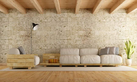 old stone wall: Modern living room with pallet sofa,stone wall and wooden ceiling - 3D Rendering Stock Photo