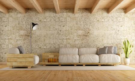 Salon moderne avec canapé palette, mur de pierre et plafond en bois - Rendu 3D