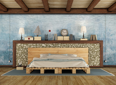 vintage furniture: Pellet bed in a rustic bedroom with stone wall and wooden ceiling - 3D Rendering