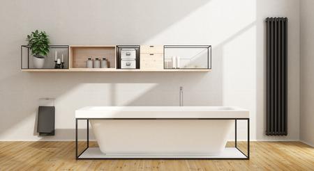 sideboard: Minimalist white bathroom with bathtub,sideboard and black vertical heater - 3D Rendering Stock Photo