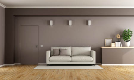 Brown modern living room with white couch and closed door - 3D Rendering Archivio Fotografico