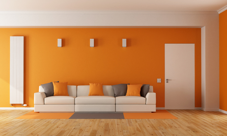 Modern orange living room with white sofa and closed door - 3D Rendering
