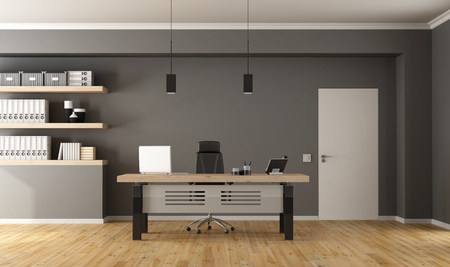 Contemporary office  with minimalist desk,closed door and shelves with binder - 3d Rendering Banque d'images