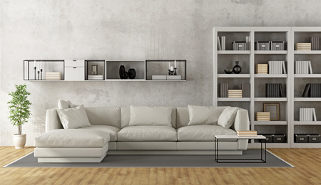 modern lounge: Contemporary white living room with sofa, bookcase and sideboard on concrete wall - 3D Rendering