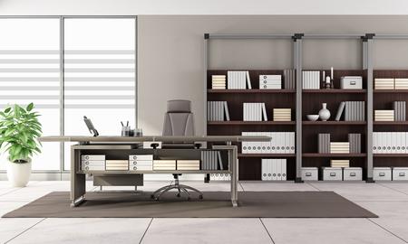 Bureau Moderne En Noir Et Blanc Avec Bureau Et Bibliothèque ...