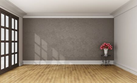 stucco: Classic room with stucco wall on background,coffee table and window - 3D Rendering Stock Photo