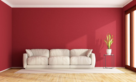 Red living room with contemporary  white sofa -3D Rendering