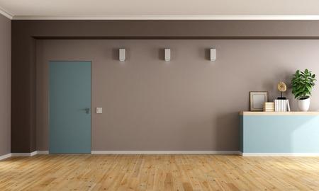 room door: Brown and blue  living room with closed door and shelf - 3D Rendering Stock Photo