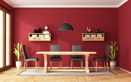 sideboard: Red dining room with rustic table and modern chair - 3D Rendering
