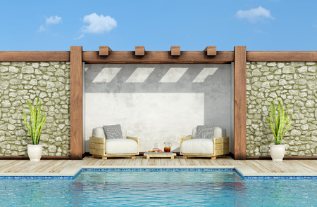 Garden with stone wall, swimming pool and two pallet armchair in a sunny day - 3d Rendering 스톡 콘텐츠