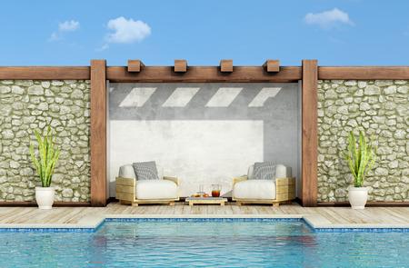 Garten mit Steinmauer, Schwimmbad und zwei Paletten Sessel in einem sonnigen Tag - 3D-Rendering Standard-Bild - 54231467
