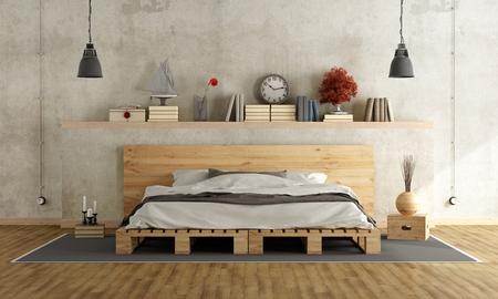 Спальня с бетонной стеной, Pallett кроватью и старинных предметов на полке - 3D рендеринг