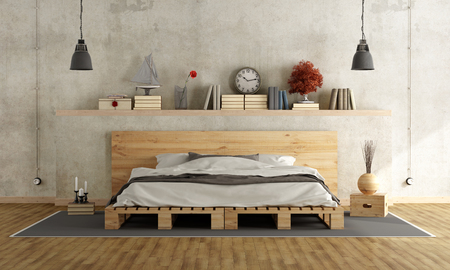 wood shelf: Bedroom with concrete wall, pallett bed and vintage objects on shelf - 3D Rendering