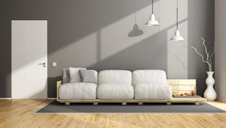 room door: Elegant gray living room with pallet sofa and close door - 3D Rendering
