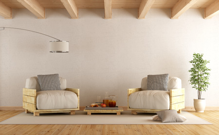 coffee table: Modern living room with pallet armchairs and coffee table - 3D Rendering