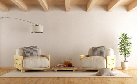 Moderne Wohnzimmer mit Paletten Sessel und Couchtisch - 3D-Rendering Standard-Bild - 54231468