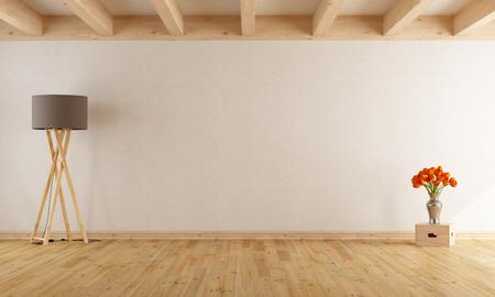 Salle de withe vide avec des poutres en bois, parquet, lampadaire et flowers- Rendu 3D Banque d'images - 54278362
