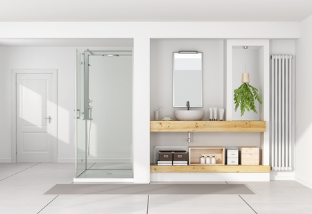 Contemporary white bathroom with washbasin on wooden shelf and shower - 3D Rendering