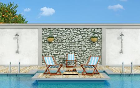 Jardin avec mur de pierre, piscine, chaise longue et douche dans une journée ensoleillée - 3d Rendering Banque d'images - 54278364