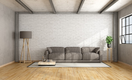 Loft interior with white brick wall and brown sofa - 3D Rendering
