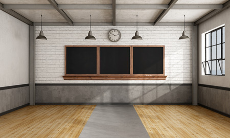 salon de clases: aula retro vacío con la pizarra en la pared de ladrillo - 3D