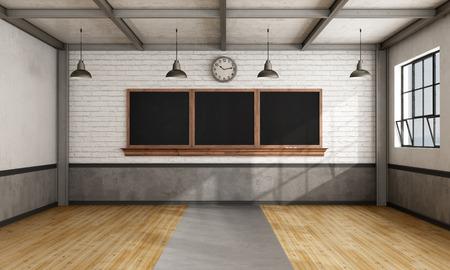 salle de classe: rétro salle de classe vide avec tableau noir sur le mur de briques - Rendu 3D Banque d'images