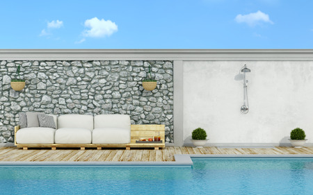 Garden with stone wall, swimming pool,pallet sofa and shower  in a sunny day - 3d Rendering Stock Photo
