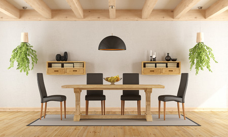 diningroom: White dining room with rustic table and modern chair - 3D Rendering Stock Photo