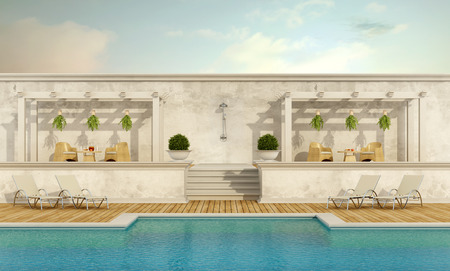 pilaster: Luxury resort with pool ,gazebo and garden furniture - 3D Rendering
