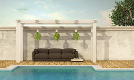 holiday villa: Holiday villa with pool and brown sofa under wooden gazebo- 3D Rendering