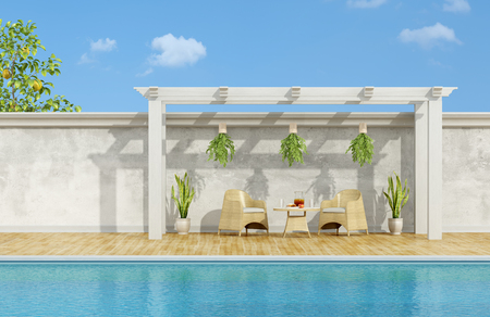 pilaster: Holiday villa with pool ,chairs and table with breakfast under wooden gazebo- 3D Rendering