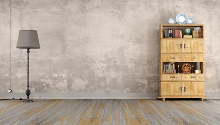sala retro con estantería de madera y lámpara de pie - 3D
