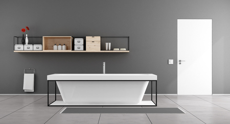 carpet clean: White and gray  minimalist bathroom with bathtub,sideboard on wall and closed door - 3D Rendering Stock Photo